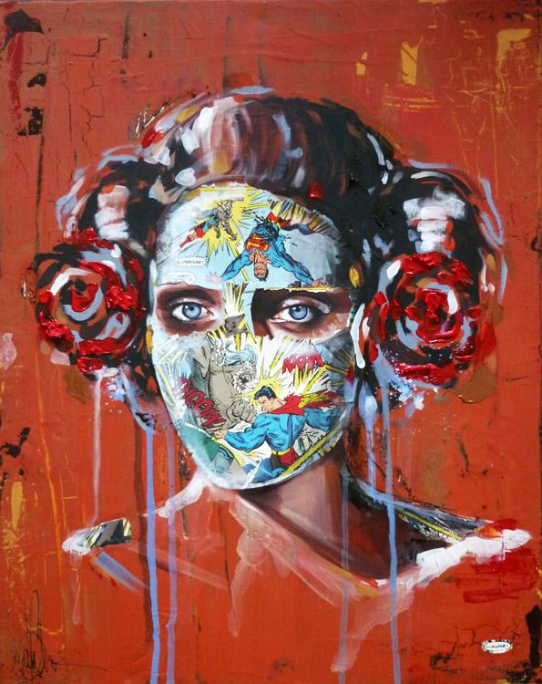 La Cage borde de fleurs rouges et de solitude, 16X20, 2013
