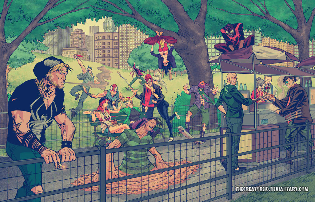 hipster_spiderman_family_by_thecreatorhd-d75p9cf