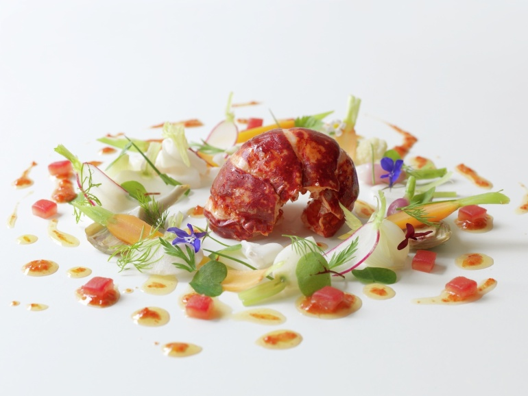 Poached Scottish lobster tail with lardo di colonnata, vegetables ˆ la grecque and coral vinaigrette