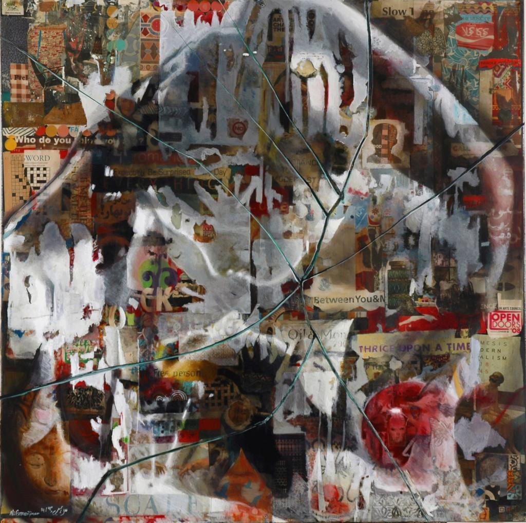 Miaja-Gallery_Ali-Esmailipour_Eve-Adam-Apple_100cm-x-100cm_Acrylic-_-Cut-papers-Gold-Silver-leaves-on-canvas-and-plexiglass-1024x1017